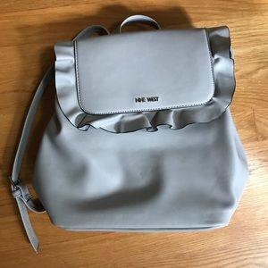 Nine West Gray Purse Bag Backpack Vegan Leather